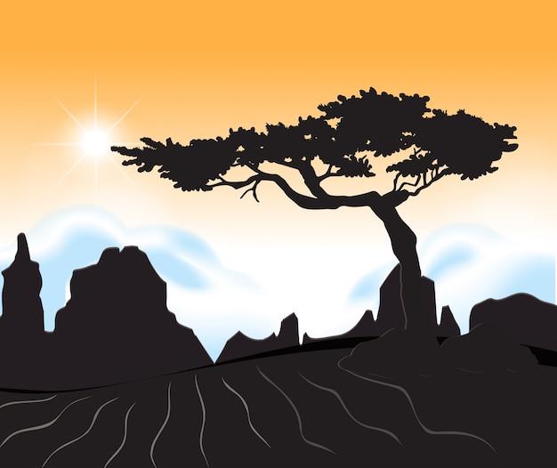 Une scène de désert au coucher du soleil Vecteur gratuit