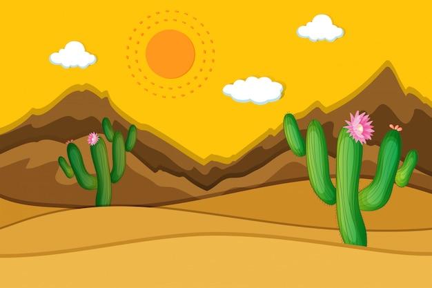 Scène de désert avec des cactus au premier plan Vecteur Premium