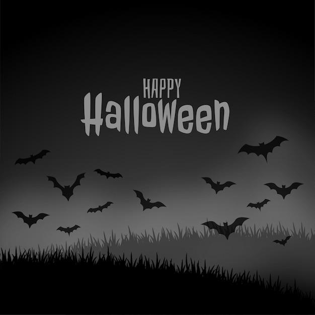 Scène effrayante nuit d'halloween heureux avec des chauves-souris volantes Vecteur gratuit