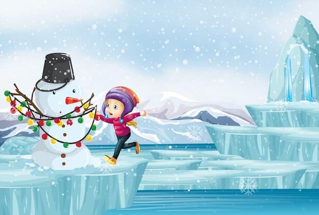 Scène avec enfant et bonhomme de neige sur glace Vecteur gratuit