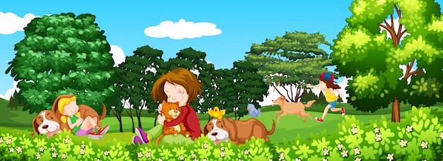 Scène avec des enfants et des animaux domestiques dans le parc Vecteur gratuit