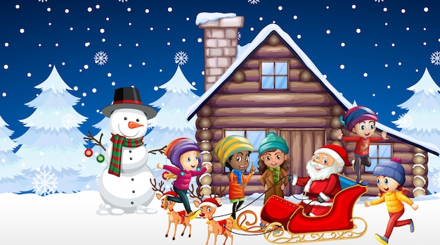 Scène Avec Enfants Et Père Noël Dans La Nuit De Noël Vecteur gratuit
