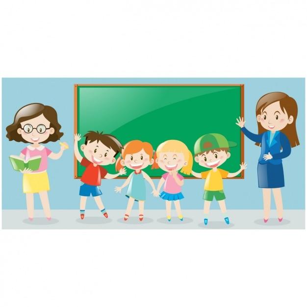 La scène des enfants avec tableau noir et les enseignants Vecteur gratuit