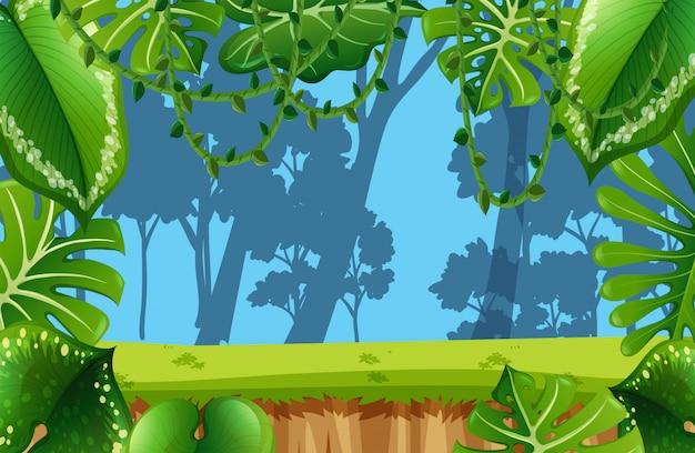 Scène d'environnement jungle vide Vecteur Premium