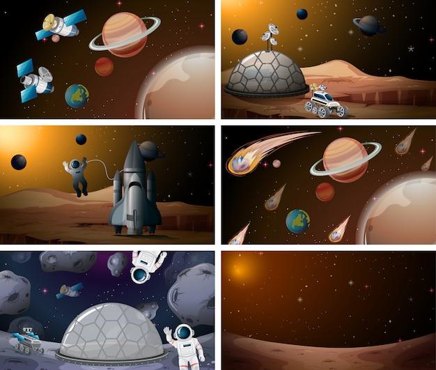 Scène de l'espace mars Vecteur gratuit