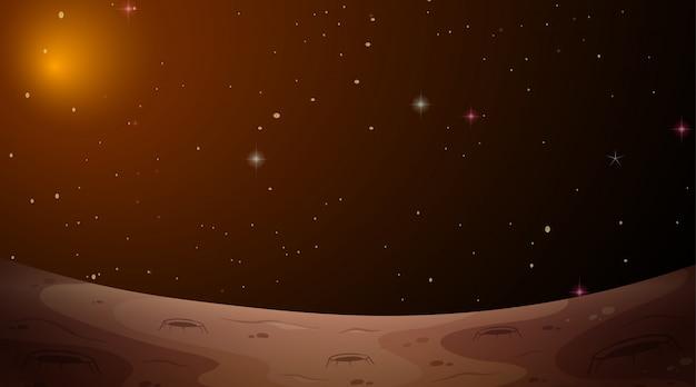 Scène de l'espace paysage mars Vecteur gratuit