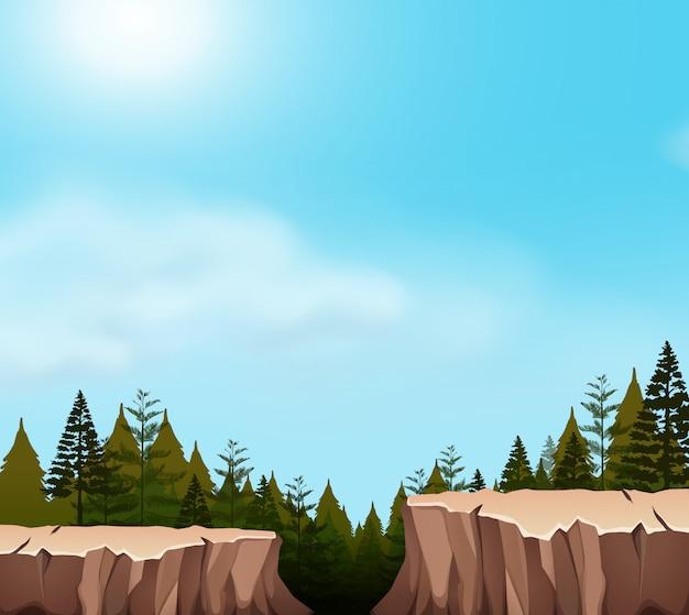 Une scène de falaise dans la nature Vecteur gratuit