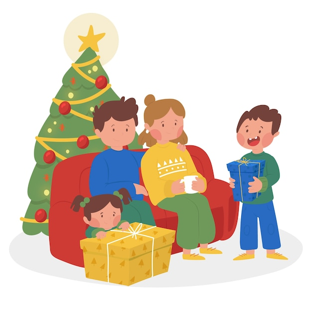 Scène familiale dessinée avec arbre de noël à la main Vecteur gratuit