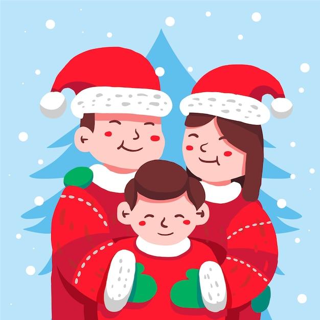 Scène Familiale De Noël Dessinée à La Main Vecteur gratuit