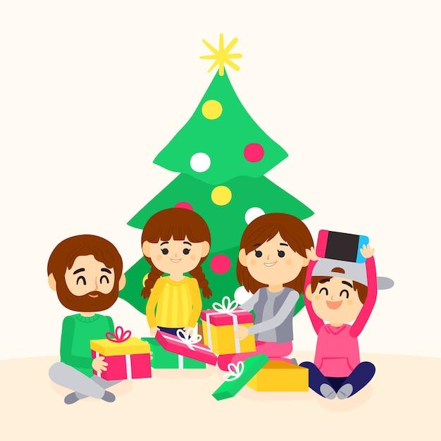 Scène De Famille De Noël Dessiné à La Main Vecteur gratuit