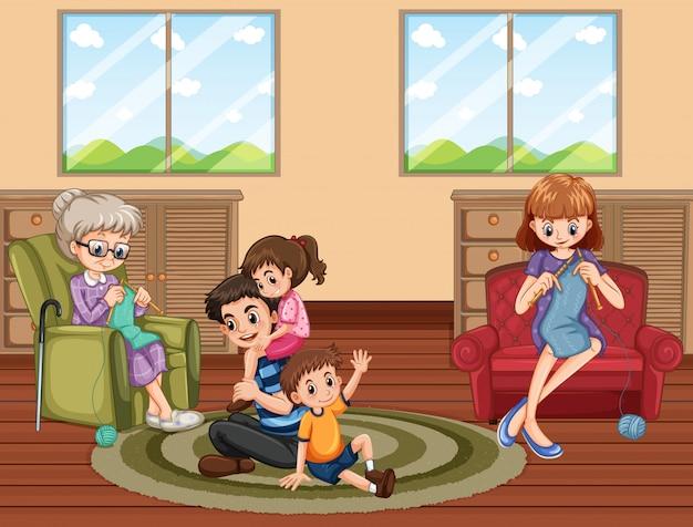 Scène En Famille S'amusant à La Maison Vecteur gratuit