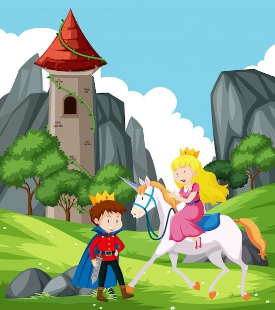 Scène de fantaisie avec prince et princesse Vecteur Premium