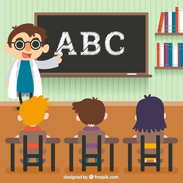 Scène Fantastique Des Enfants D'apprentissage à L'école Vecteur gratuit