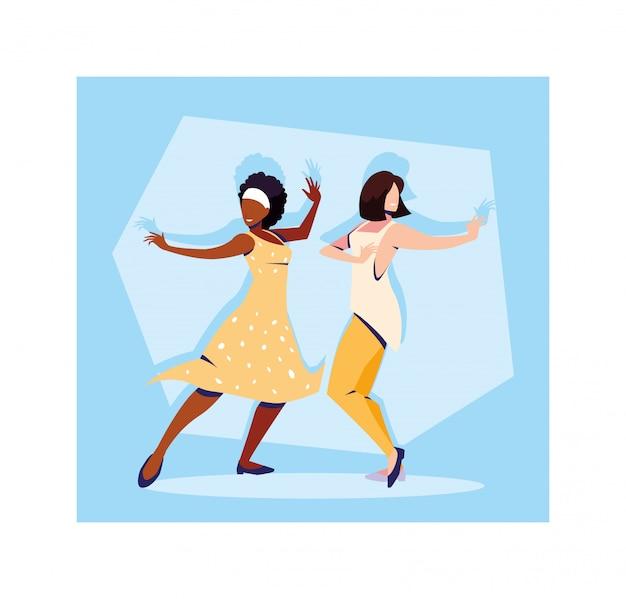 Scène De Femmes En Danse Pose, Fête, Club De Danse Vecteur Premium