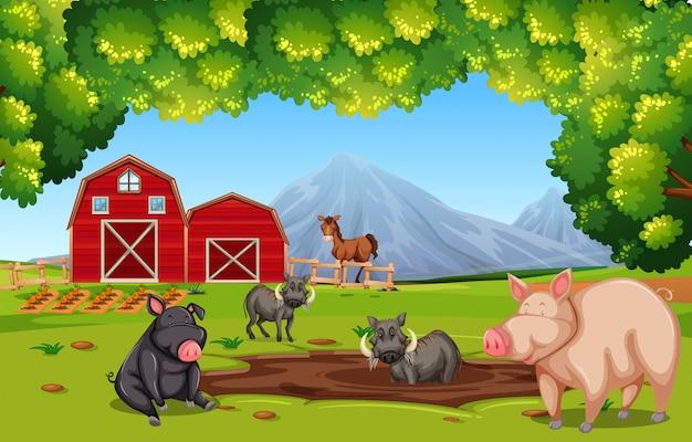 Scène de ferme avec des animaux Vecteur Premium