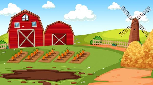 Scène de ferme dans la nature avec grange Vecteur gratuit