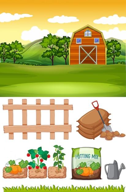 Scène De Ferme Avec Grange Et Autres Articles Agricoles à La Ferme Vecteur gratuit
