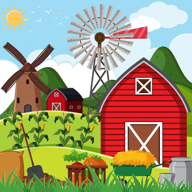 Scène de ferme avec une grange rouge Vecteur Premium
