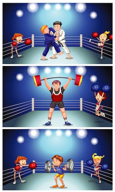 Scène De Fond Avec Des Athlètes Se Battant Dans Le Ring Vecteur gratuit