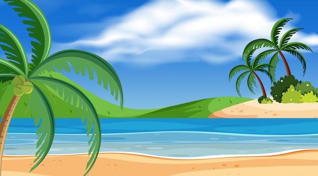 Scène de fond de belle plage Vecteur Premium