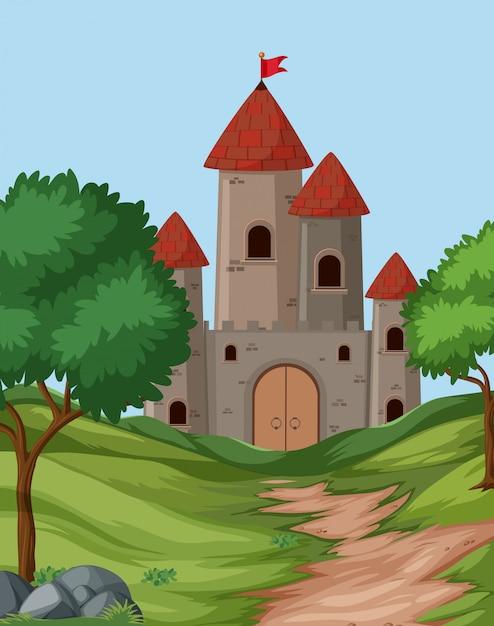 Scène de fond du grand château Vecteur Premium