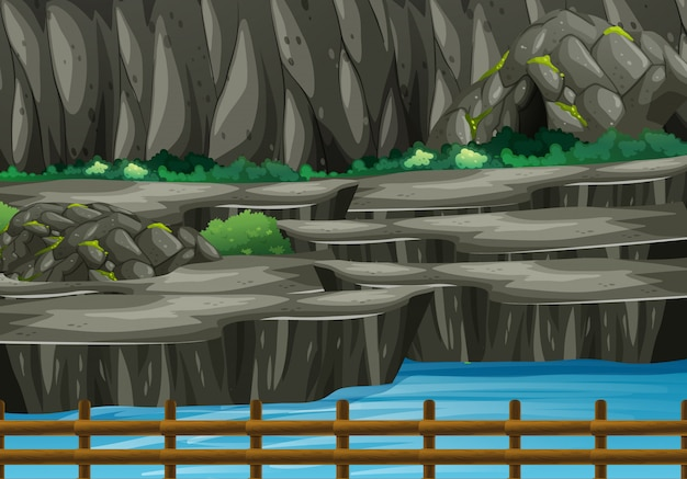 Scène de fond du parc avec grotte et rivière Vecteur gratuit