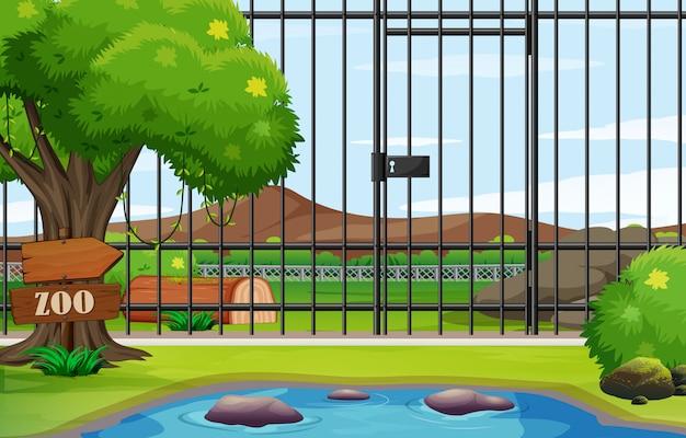Scène De Fond Du Parc Zoologique Avec Cage Vecteur gratuit