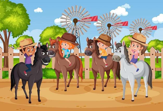 Scène De Fond Avec Des Enfants à Cheval Dans Le Parc Vecteur Premium