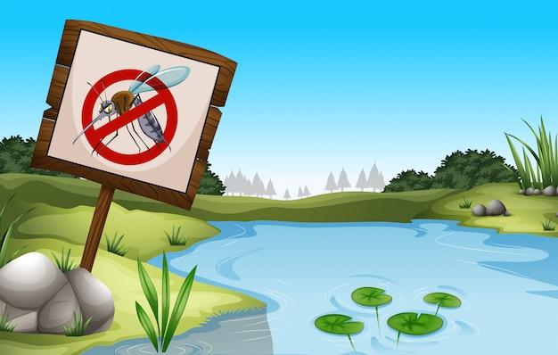 Scène de fond avec étang et signe pas de moustiques Vecteur gratuit