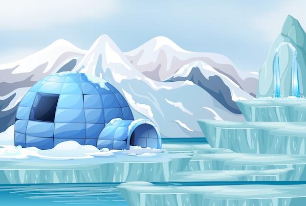 Scène De Fond Avec Un Igloo Dans L'arctique Vecteur Premium