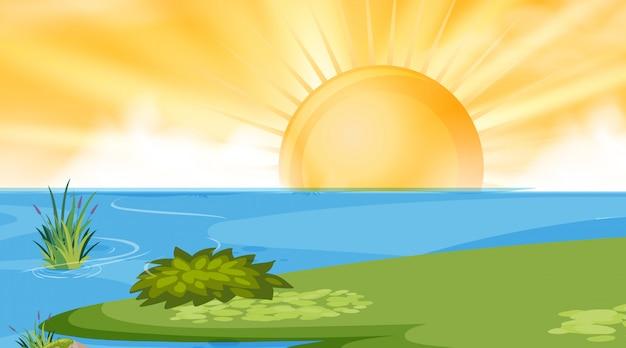 Scène de fond de lac soleil Vecteur Premium