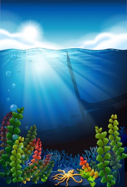 Scène De Fond Avec La Mer Bleue Et Sous L'eau Vecteur gratuit