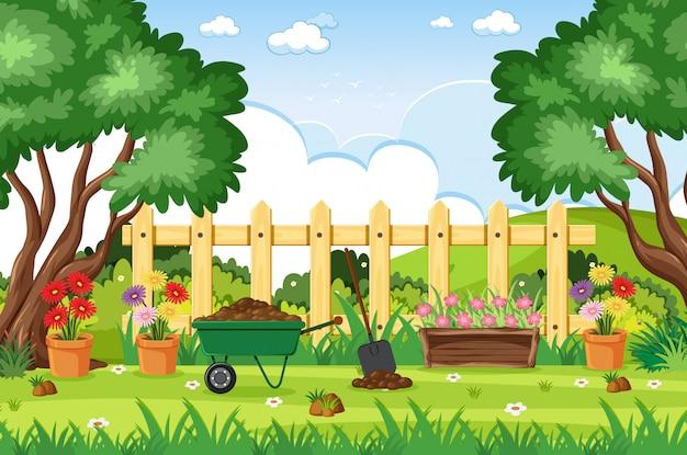 Scène De Fond Avec Des Outils De Jardinage Dans Le Parc Vecteur Premium
