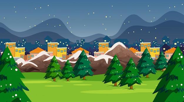 Scène ou fond de parc de ville de neige Vecteur gratuit
