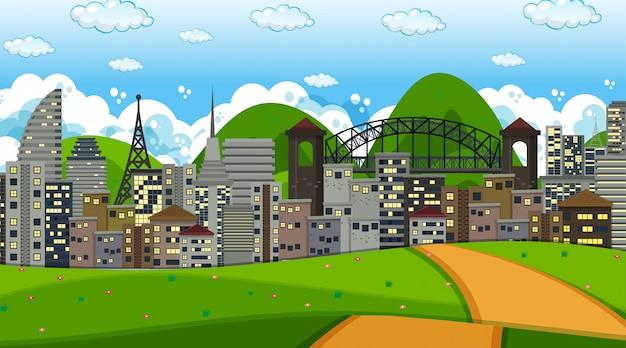 Scène de fond de paysage de ville Vecteur gratuit