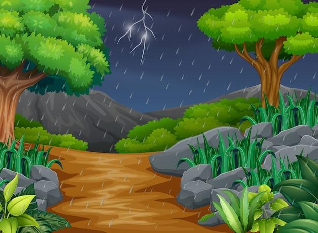 Scène de fond avec la pluie dans le parc Vecteur Premium