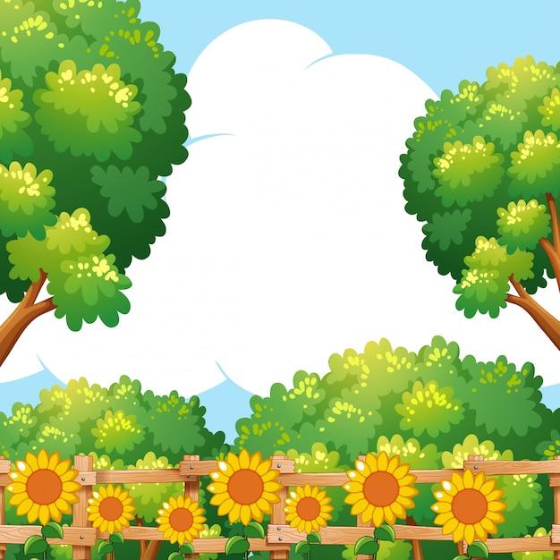 Scène de fond avec des tournesols dans le jardin Vecteur gratuit