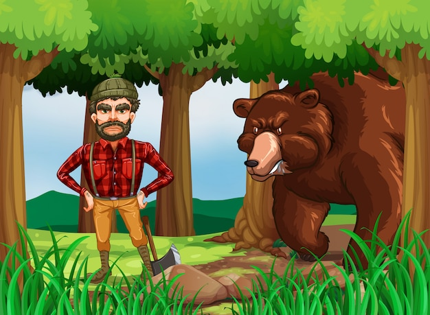 Scène de la forêt avec un bûcheron et un ours Vecteur gratuit
