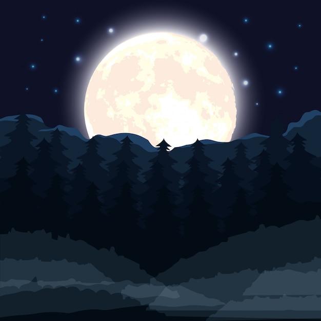Scène de forêt sombre halloween avec la pleine lune Vecteur gratuit
