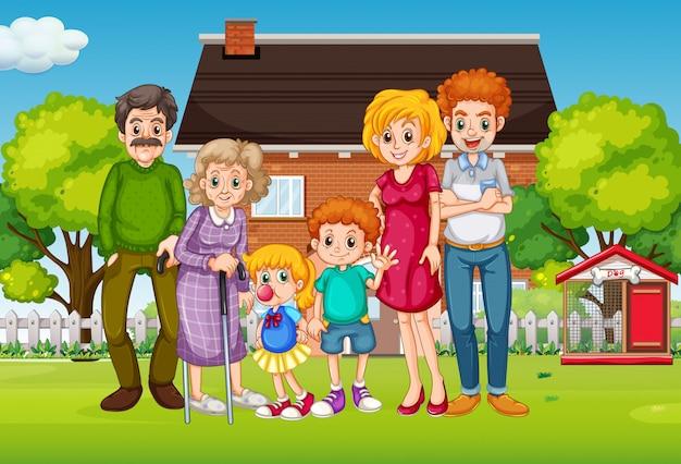 Scène Avec Des Gens En Famille Se Détendre à La Maison Vecteur gratuit