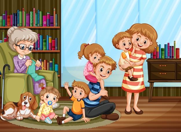 Scène Avec Des Gens à La Maison En Famille Vecteur gratuit