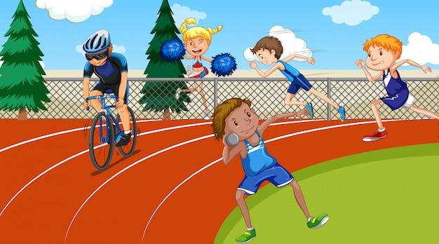 Scène Avec Des Gens Qui Font Des Sports D'athlétisme Vecteur gratuit