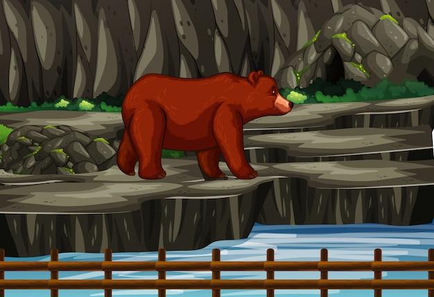 Scène avec des grizzlis dans la montagne Vecteur gratuit