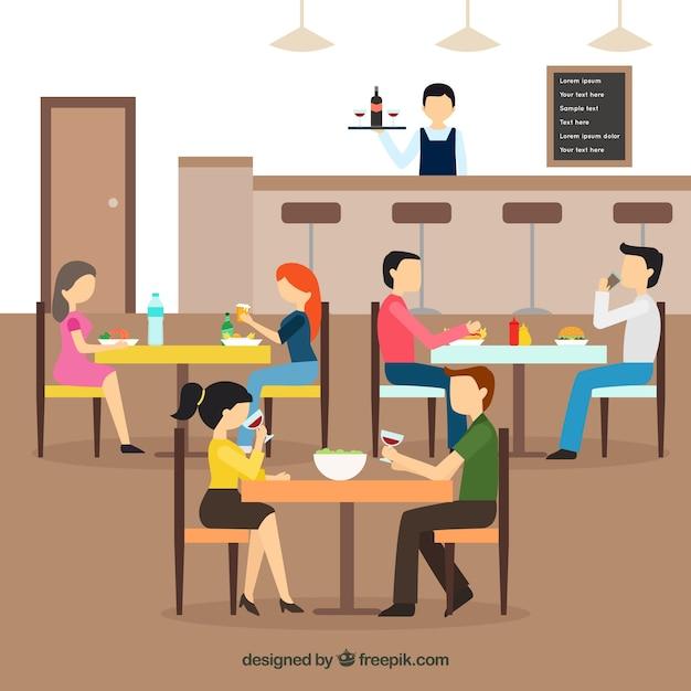 Scène D'intérieur D'un Restaurant En Design Plat   Vecteur ...