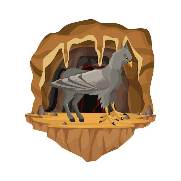 Scène Intérieure De La Grotte Avec Créature Mythologique Grec Hippogriffe Vecteur Premium