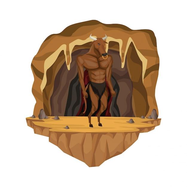 Scène Intérieure De La Grotte Avec Créature Mythologique Grec Minotaure Vecteur Premium
