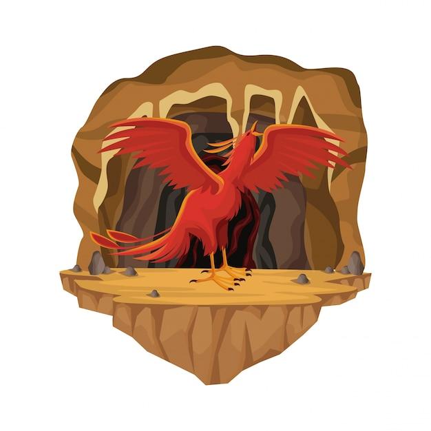 Scène Intérieure De La Grotte Avec La Créature Mythologique Grec Phénix Vecteur Premium