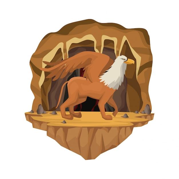 Scène Intérieure De La Grotte Avec Créature Mythologique Grecque Griff Vecteur Premium