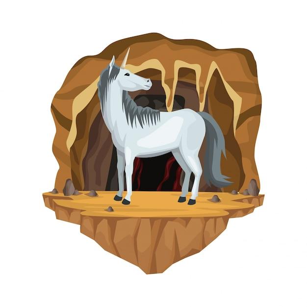 Scène Intérieure De La Grotte Avec La Créature Mythologique Grecque Licorne Vecteur Premium