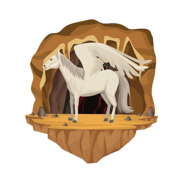 Scène Intérieure De La Grotte Avec La Créature Mythologique Grecque De Pegasus Vecteur Premium